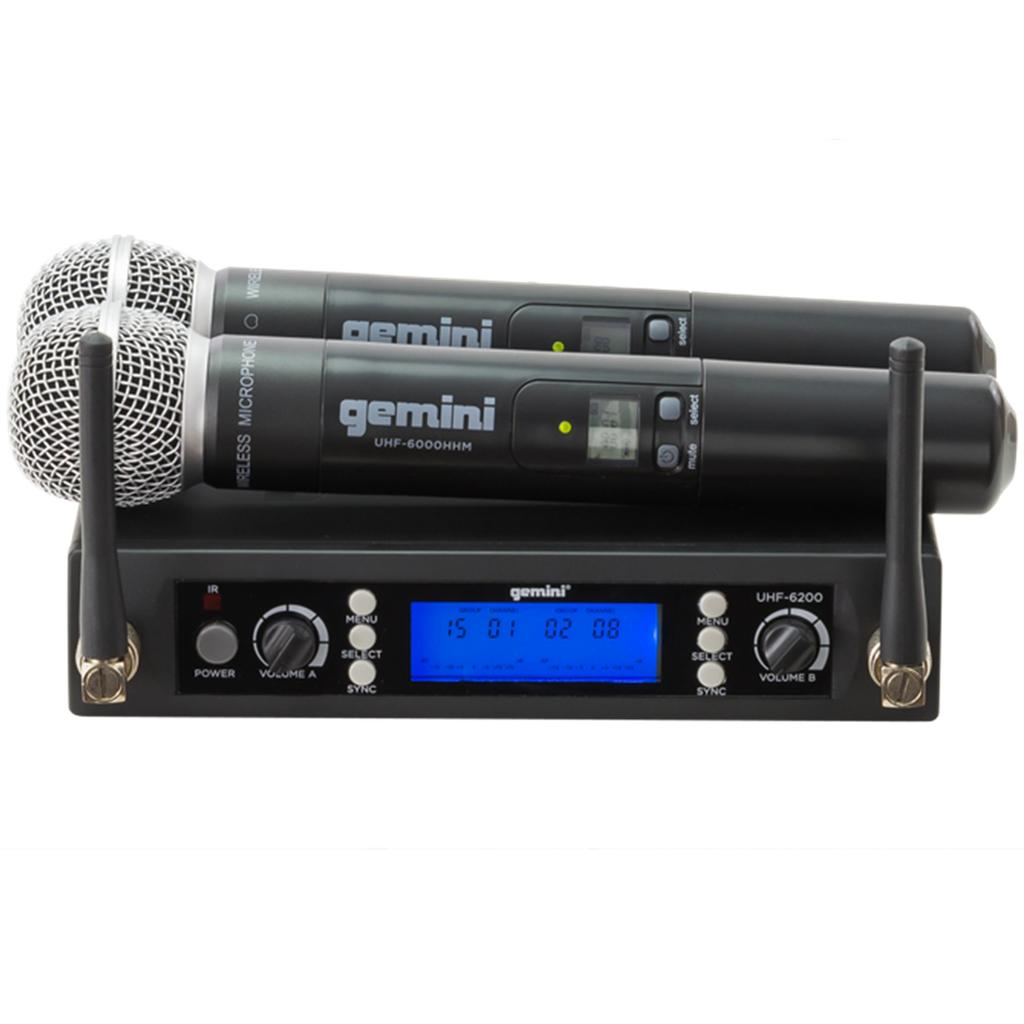 gemini uhf 6200m dual channel uhf wireless handheld microphone system free shipping. Black Bedroom Furniture Sets. Home Design Ideas