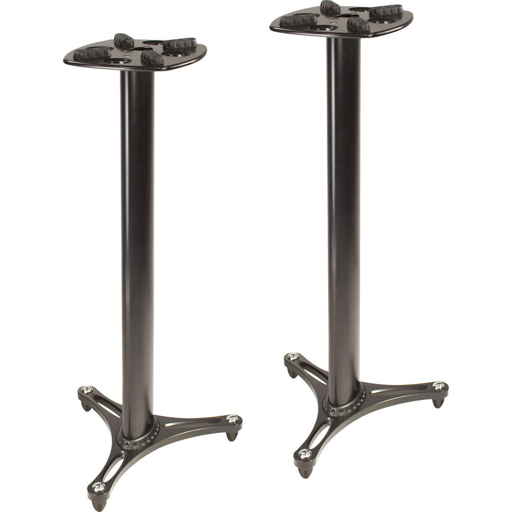 ultimate support ms 90 45 column studio monitor stands black pair free shipping. Black Bedroom Furniture Sets. Home Design Ideas